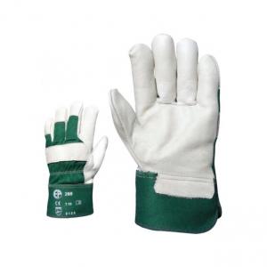 260-as színmarha bőr munkavédelmi kesztyű, zöld, fehér