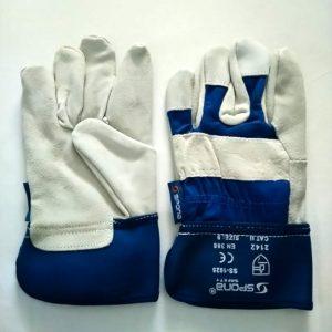 spona hasított bőr munkavédelmi kesztyű, kék, fehér